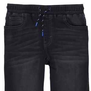 Boys pull up black shorts super soft knit denim